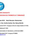 XV Simposio Uruguayo, VIX del Mercosur de Trombofilia y Embarazo – Agosto 2018
