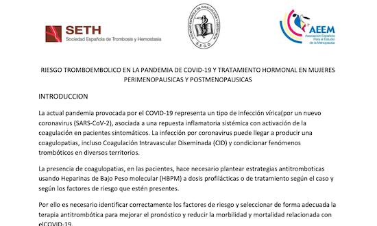 Riesgo de Tromboembolico en la Pandemia Covid 19 y Tratamiento Hormonal en Mujeres Perimenopausicas y Postmenopausicas