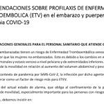 RECOMENDACIONES SOBRE PROFILAXIS ETV en embarazo y puerperio durante la pandemia COVID-19